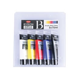 Jasart Byron Acrylic Paint 75ml Set 5 Cool Primary