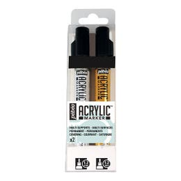 Pebeo Acrylic Marker Set Gold & Silver Set 2