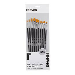 Reeves Large Value Gold Taklon Brush Sets Flat (4, 5, 6, 10), Round (1, 3, 7), Filbert (9), Angle (2 & 8)   Long Handle