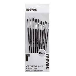 Reeves Large Value Black Taklon Brush Sets Flat (1, 2, 4, 5, 7, 8, 10), Round (3, 6, 8)   Long Handle