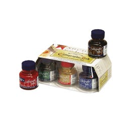 Winsor & Newton Calligraphy Ink Set 6 Assorted Colours Packaging Bottles Stack