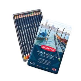 Derwent Watercolour Pencil Tin 12 Open