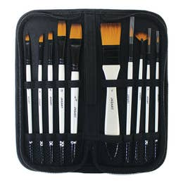 Jasart Pearl White Synthetic Brush Wallet 10 (Short Handle)