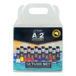 A>2 Art Students Acrylic Paint Assorted Colours Set 12 x 20ml