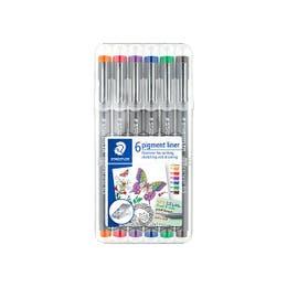 STAEDTLER Pigment Liner Set 0.5mm, Assorted Colours Wallet 6