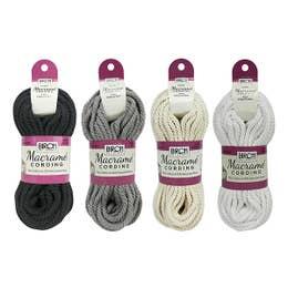 Birch Macrame Cord Hanks Black, Grey, Natural & White