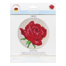 Lady Bird Rose Rouge Long Stitch Round Kit