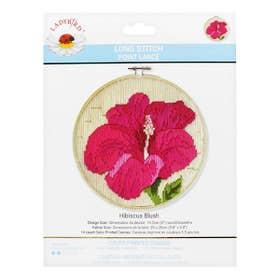 Lady Bird Hibiscus Blush Long Stitch Round Kit