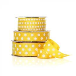 Vandoros Grosgrain Yellow & White Polka Dot Ribbon