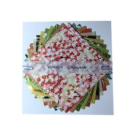 Washi Origami Paper Pack 12 Chiyogami Kozo Mix 150mm x 150mm