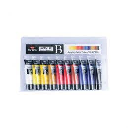 Jasart Byron Acrylic Primary Paint 75ml Set 10