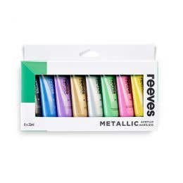 Reeves Acrylic 22ml Metallic Paint Set