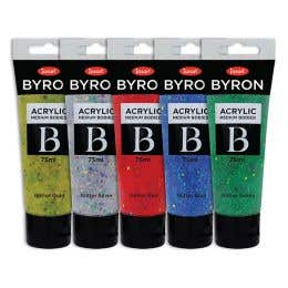 Jasart Byron Acrylic Glitter Paint 75ml Set