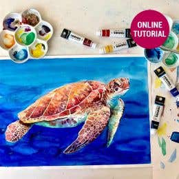 Reeves Water Colour Turtle Painting Online Tutorial