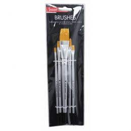 Jasart Gold Synthetic Short Flat Brushes Set 5