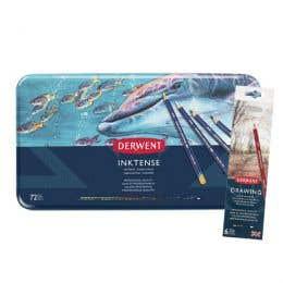 Derwent Inktense Pencil Tin Set 72 & Bonus Drawing Set