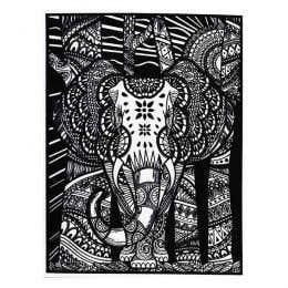 Colorvelvet Flocked Poster Art Large Indian Elephant