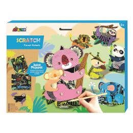 Avenir Scratch Art Joint Puppets Animals in the Forest Kit