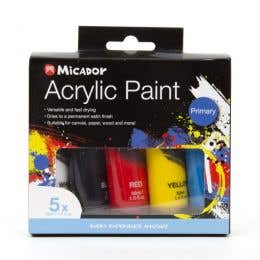 Micador Acrylic Primary Paint Set
