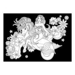 Colourme Velvet Mermaid on Sea Pony Art Poster