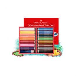 Faber-Castell Red Range Water Colour Pencils Wooden Box Case