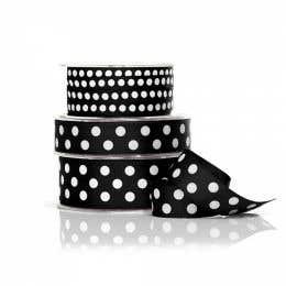 Vandoros Grosgrain Black & White Polka Dot Ribbon