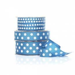 Vandoros Grosgrain French Blue & White Polka Dot Ribbon