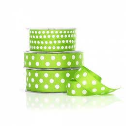 Vandoros Grosgrain Lime & White Polka Dot Ribbon