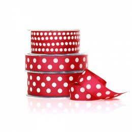 Vandoros Grosgrain Red & White Polka Dot Ribbon