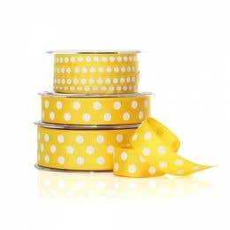 Vandoros Grosgrain Yellow & White Polka Dot Ribbon