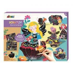 Avenir Scratch Art Joint Puppets Fairies in the Garden Kit