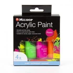 Micador Acrylic Fluorescent Paint Set