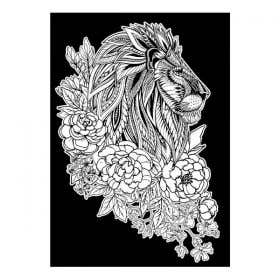 Colourme Velvet Floral Lion Art Poster