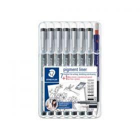 STAEDTLER Pigment Liner Assorted Nibs Set 7 with Bonus Pencil