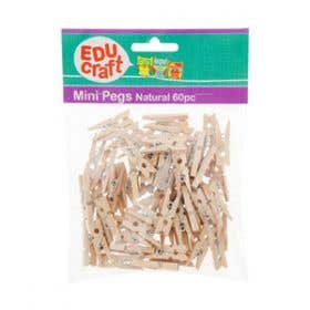 EDUcraft Mini Pegs Natural 2.5cm Natural Pack 60