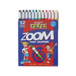 Texta Zoom Twist Crayons Assorted Colours Wallet 12