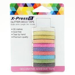 X-Press It Deco Tape Rolls 10 Pack Glitter 6mm x 3m