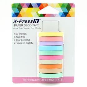 X-Press It Deco Tape Rolls 10 Pack Pastels 6mm x 5m