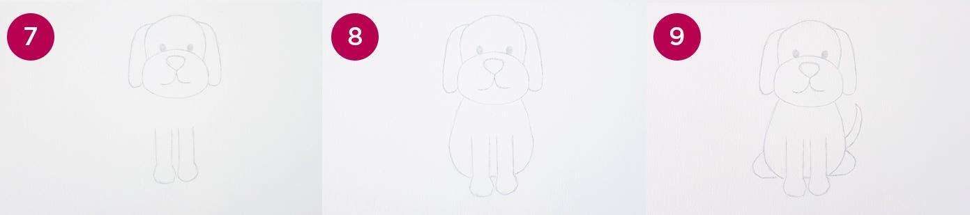 Cartoon Dog Steps 7-9