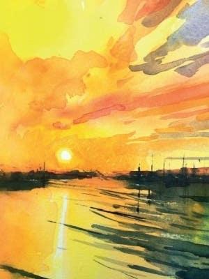 Winsor & Newton Professional Water Colour Sunrise Tutorial