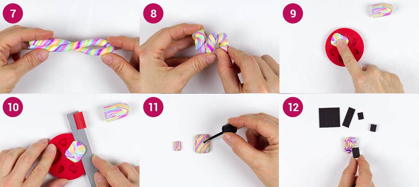FIMO Neon Magnet Steps 2